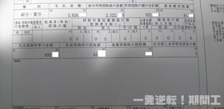 日産九州正社員の源泉徴収票(2018年度)
